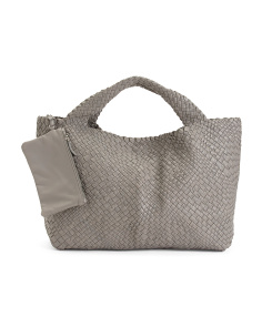Made In Italy Large Handwoven Leather Tote