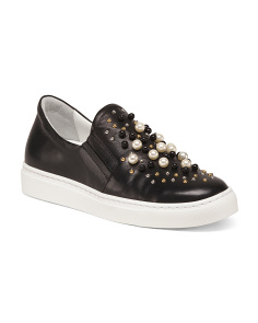 Made In Italy Slip On Studded Leather Sneakers