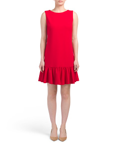 Scuba Crepe Dress With Flounce Hem