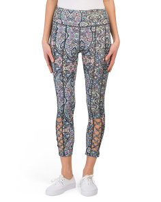 Multi Print Lattice Back Capris
