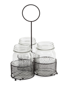 4pc Mason Jar Caddy Set