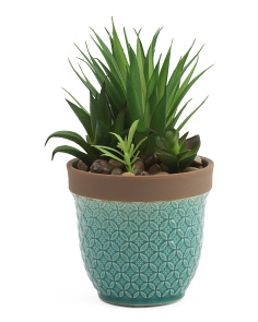 7in Faux Succulent In Ceramic Pot