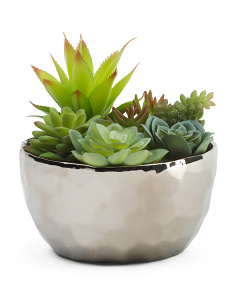 8in Faux Succulent In Metallic Pot