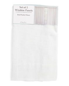 54x96 Set Of 2 Sheer Linen Look Curtains