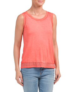 Pigment Washed Raw Edge Tank Top