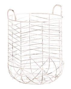 Large Decoweave Round Metal Hamper