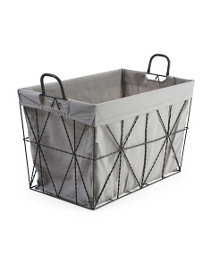 Medium Diamond Weave Metal Tapered Basket