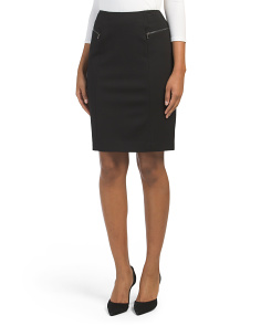 Ponte Slim Skirt With Zippers