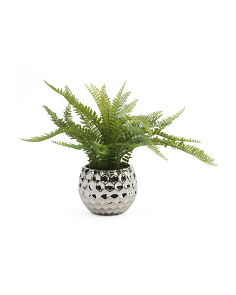 17in Faux Fern In Silver Pot