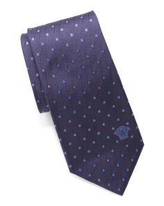 Made In Italy Silk Geo Squares Tie