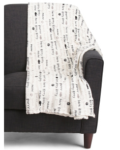 Plush Kitty Words Throw