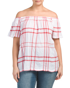 Plus Off The Shoulder Plaid Top