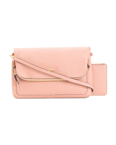 RFID Leather Crossbody And Wallet Set