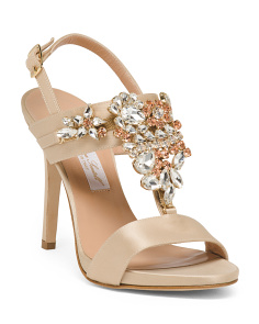 Made In Italy Jeweled Heeled Sandals