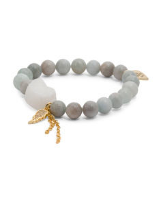 Handcrafted In California Aquamarine And Drusy Wing Bracelet