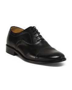 Men's Made In Italy Cap Toe Leather Dress Shoes