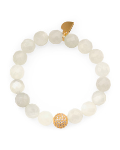 Handcrafted In California Moonstone CZ Bead Bracelet