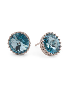 Sterling Silver Swarovski Aquamarine Crystal Post Earrings