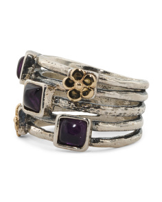Made In Israel 14k Gold And Sterling Silver Amethyst Stacked Ring