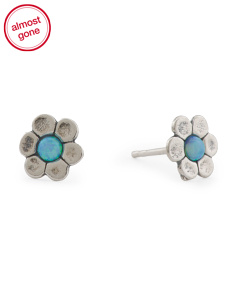 Made In Israel Sterling Silver Opal Flower Earrings