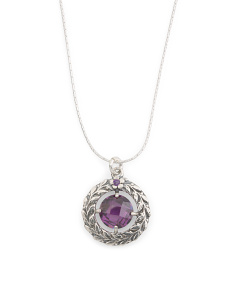 Made In Israel Sterling Silver Amethyst CZ Leaf Necklace
