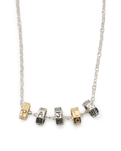 Made In Israel 2 Tone Sterling Silver 5 Bead Necklace