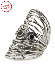 Made In Israel Sterling Silver Black Spinel Knuckle Ring