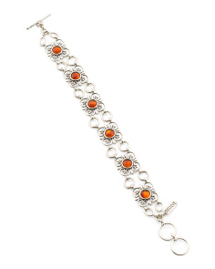Made In Israel Sterling Silver Amber Bracelet
