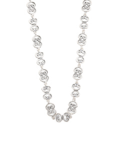 Made In Israel Sterling Silver Floral Link Necklace