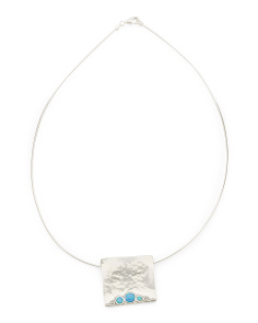 Made In Israel Sterling Silver Opal Square Necklace