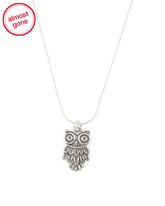 Made In Israel Sterling Silver Owl Necklace