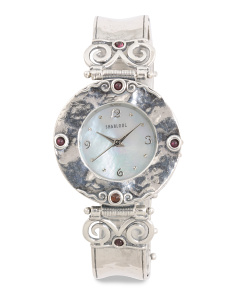 Women's Made In Israel Sterling Silver Garnet Watch
