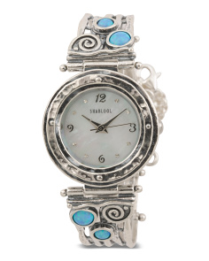 Women's Made In Israel Sterling Silver Opal Watch