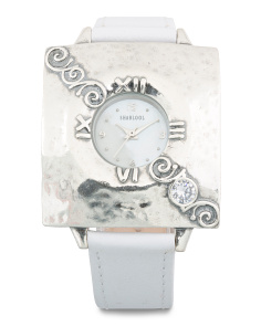 Women's Made In Israel Sterling Silver White Leather Cz Watch