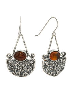 Made In Israel Sterling Silver Amber Scroll Earrings