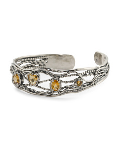Made In Israel Sterling Silver Citrine Cuff Bracelet
