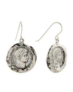 Made In Israel Sterling Silver Coin Earrings