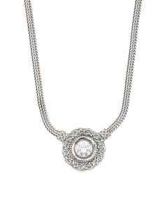 Made In Israel Sterling Silver Cubic Zirconia Necklace