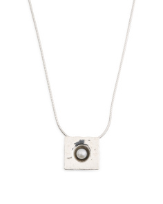 Made In Israel Sterling Silver Pearl Square Necklace