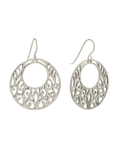 Made In Israel Sterling Silver Scroll Open Circle Earrings