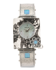 Women's Made In Israel Sterling Silver Opal Flower Watch