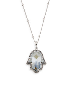 Sterling Silver Swarovski Crystal Hamsa Necklace