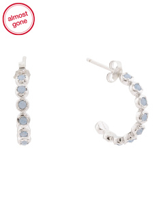 Sterling Silver Swarovski Crystal Hoop Earrings