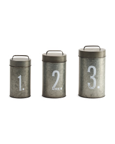 Set Of 3 Galvanized Canisters