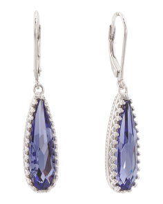 Sterling Silver Swarovski Crystal Tear Drop Earrings