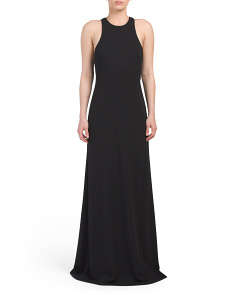 Sleeveless Scuba Crepe And Satin Gown