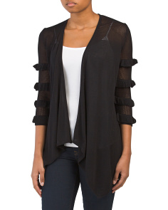 Pointelle Illusion Ruffle Cardigan