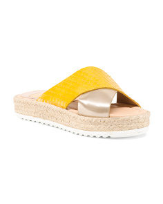 Made In Spain Cross Band Leather Espadrilles