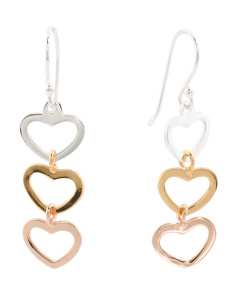 Made In Thailand Tricolor Sterling Silver Triple Heart Earrings