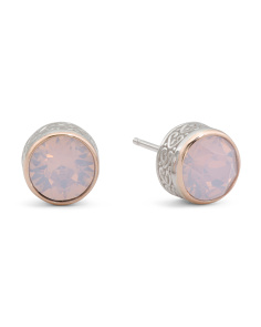 14k Rose Gold And Sterling Silver Swarovski Crystal Earrings